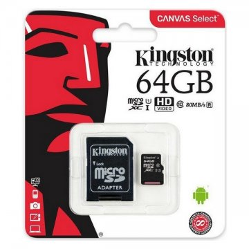 Karta Pamięci Micro-SD z Adapterem Kingston SDCS2 100 MB/s exFAT - 64 GB